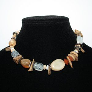 Beautiful Boho necklace with stones and wood beads